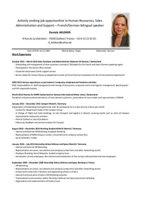 Lebenslauf Englisch Muster Human Resources dwildner cv 0416