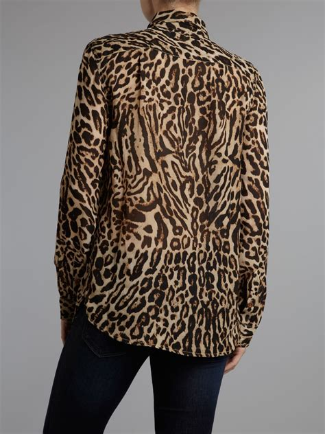Leopard Print Sleeve Shirt denim supply ralph sleeve leopard print