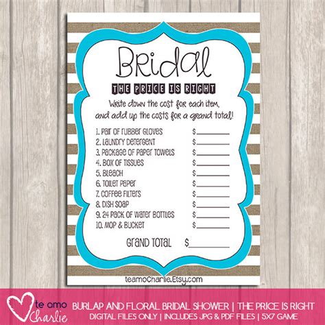 printable price is right bridal shower game the price is right bridal shower game personalized