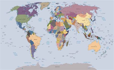 World Map Wall Paper Mural - world map wall paper mural buy at europosters