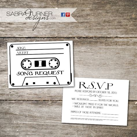 Wedding Song Request Card by Cassette Rsvp Card Song Request Card Wedding Rsvp