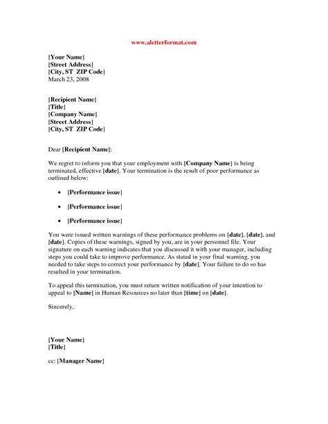 awesome collection of sample employee termination letter for poor