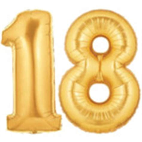 Large Gold Number 18 Balloon, Gold 18th Birthday Party Decoration