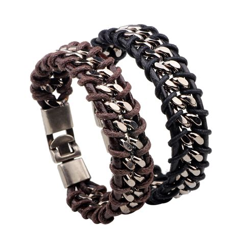 Handmade Metal Bracelets - samyeung new handmade leather bracelet rope metal
