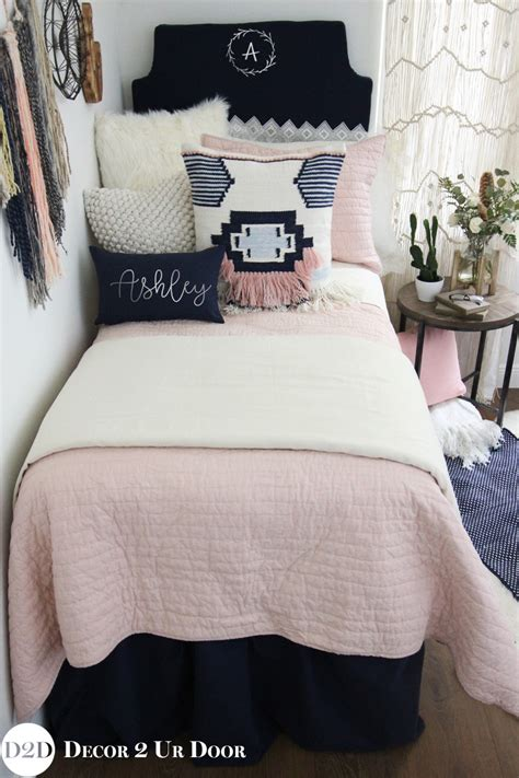 pink dorm bedding pink navy boho designer dorm bedding set magnolia home by joanna gaines