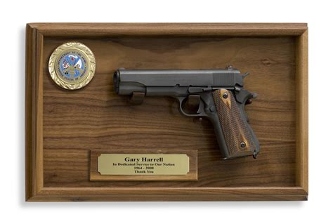 Walnut Corner Display Cabinet 1911 Government Model 45 Cal Pistol And Wall Plaque