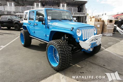 white and teal jeep sema 2016 sobecustoms blue white jeep jk wrangler unlimited