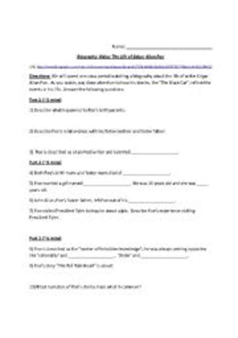 Edgar Allan Poe Biography Worksheet | english worksheets edgar allan poe biography worksheet