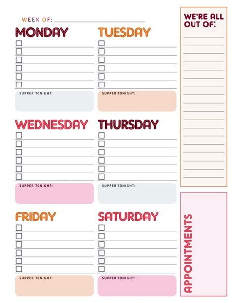 elegant weekly calendar to do list calendar