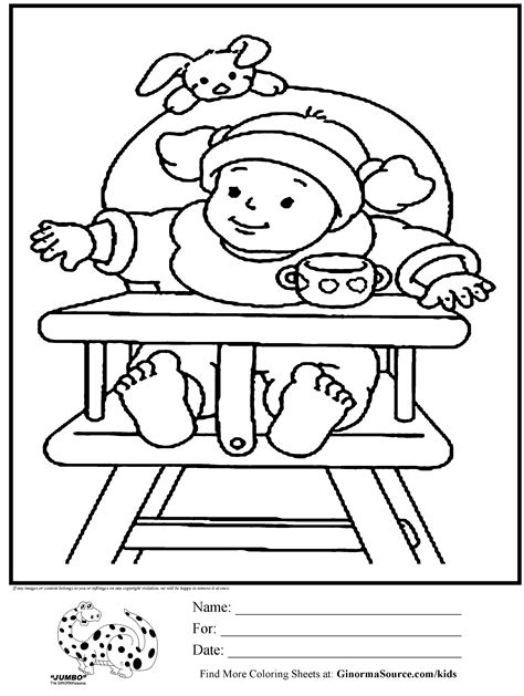 Baby High Coloring Pages by Baby High Chair Coloring Pages For Coloring Pages