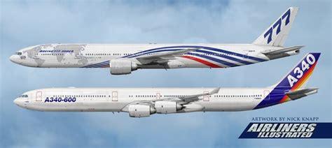 Miniatur Pesawat Emirates Airlines Boeing B777 300er Medium Size b 777 300 against a340 600 size comparison