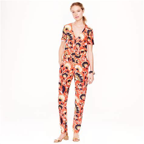 flower design jumpsuit lyst j crew collection jumpsuit in hibiscus floral in orange