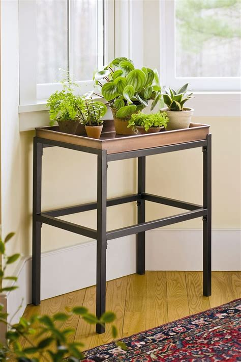 Indoor Plant Table by Plant Stand With Copper Tray Buy From Gardener S Supply