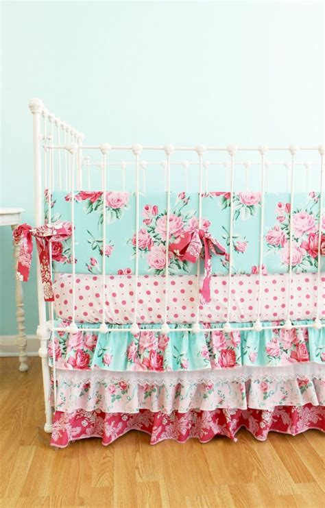pink and blue roses baby girl crib bedding shabby chic baby bedding with ruffle crib skirt