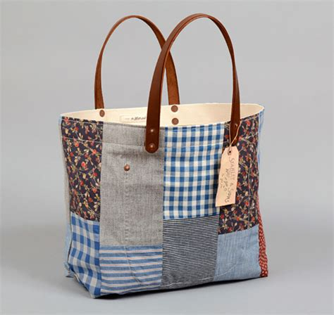 Patchwork Bag - th s co tote bag with leather handles patchwork 2