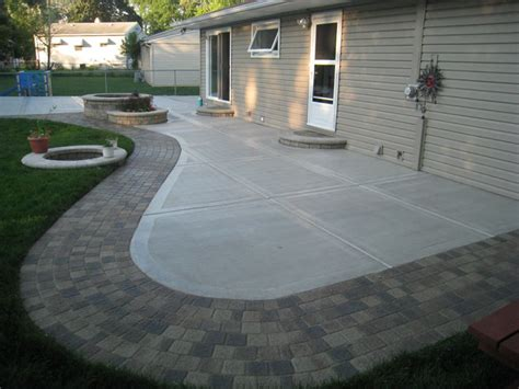 Concrete Patio With Pavers Backyard Sted Concrete Patio Buchheit Construction