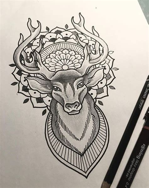 tattoo mandala deer marvelous grey pencil deer with mandala tattoo design