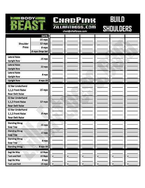 beast workout sheet 15 best beast workout images on beast