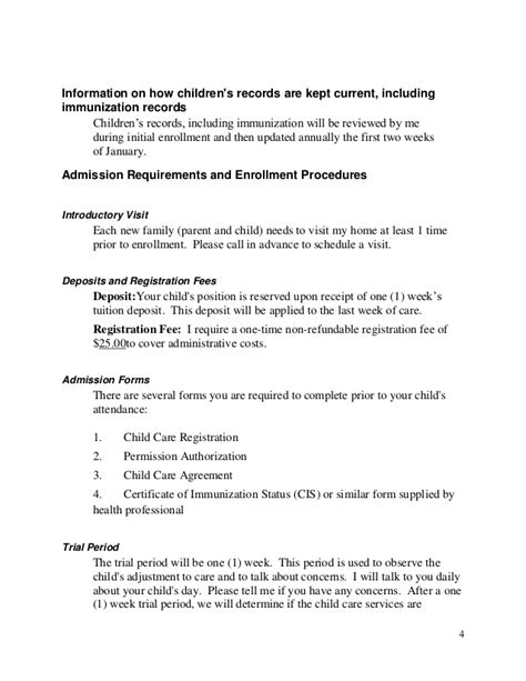 child care handbook template parent handbook 2012