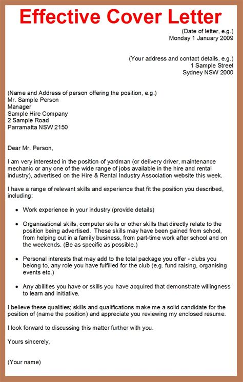 Write Effective Cover Letter how to write a cover letter for a application