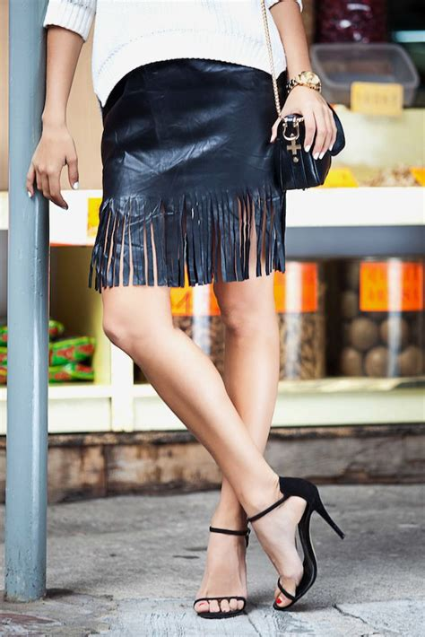make a fringe leather skirt with a pair and a spare diy