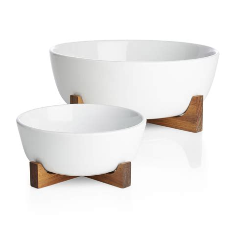 oven to table bowls oven to table serving bowl with acacia wood stand so