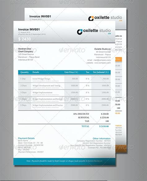 indesign invoice template indesign invoice template