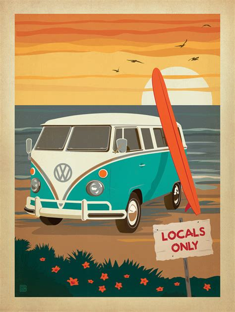 volkswagen bus painting locals only vw surf van coastal gallery print 18 quot x24