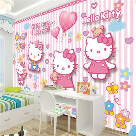 wallpaper hello kitty untuk dinding kamar free shipping hellokitty large murals of children room