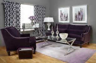 Grey And Purple Sofa Statement Shade Chic Contemporary Living Room By Z