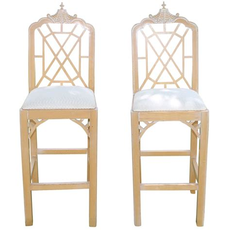 chippendale style bar stools vintage pair of pagoda bar stools fret