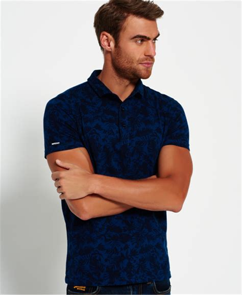 Polo Shirt Surf mens city surf polo shirt in boston blue superdry