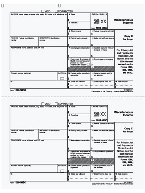 1099 Misc Payer Copy C 1099 Copy A Template