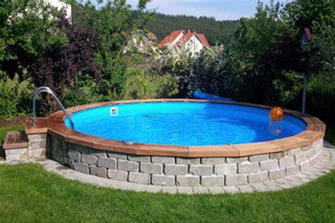 Pool Halb Eingelassen by Stahlwandpool Verkleiden Kjosy