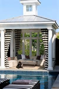 Outdoor Cabana Curtains Striped Outdoor Curtains And Drapes Pool Houses House And Small Pool Houses