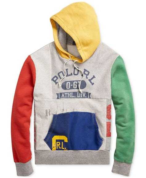 Patchwork Hoodies - lyst polo ralph s patchwork hoodie for