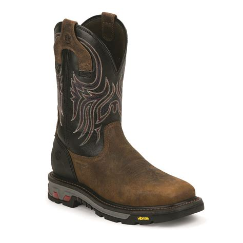 justin pull on work boots justin s commander x5 11 quot steel toe pull on work boots