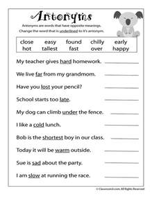 reading worksheets antonyms and synonyms antonym