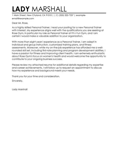 health and fitness cover letter best personal trainer cover letter exles livecareer