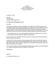 Sle Letter For Child Support by Divorce Source Child Support Increase Request Letter Payee To Payor