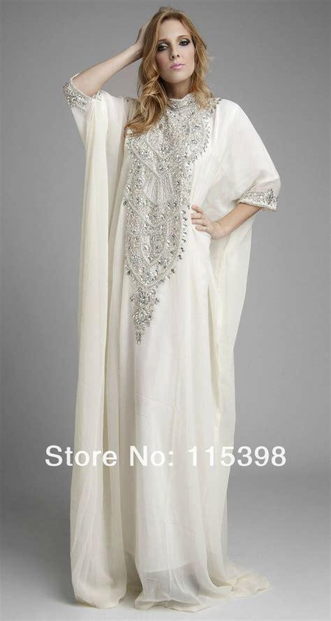 Abaya Arab Anak 2 beaded high neck muslim arabic kaftan pakistan abaya dubai evening dress white with
