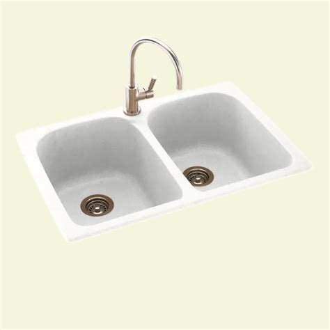 Swan Kitchen Sinks Swan Dual Mount Composite 33 In 1 Bowl Kitchen Sink In Tahiti White Ks02233lb 011