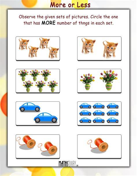 more or less worksheets practical maths ukg math worksheets page 3
