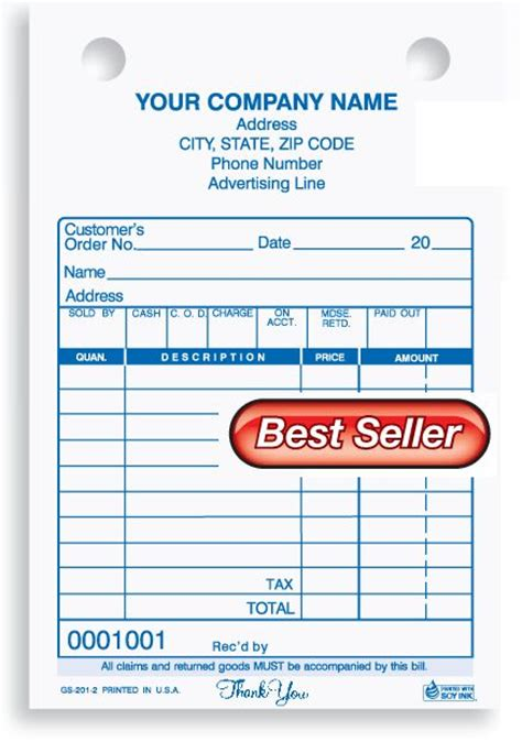 General Sales Receipt Template by General Sales Receipt Custom Printing And Printing