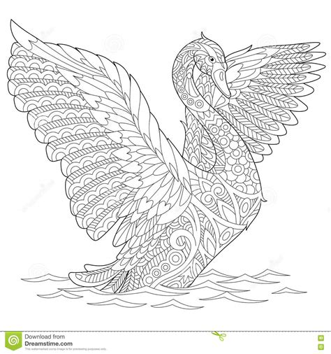 anti stress coloring book doodle and color your stress away zentangle stylized swan stock vector illustration of