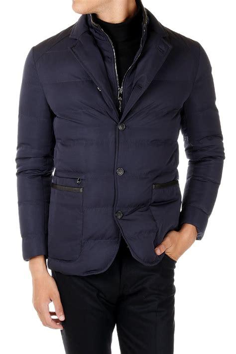 Jaket No Id corneliani id new blue padded jacket coat leather