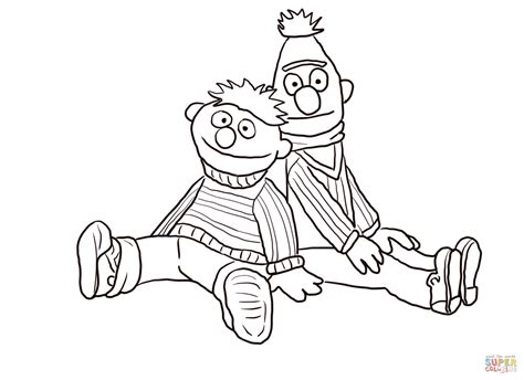 Bert And Ernie Sitting And Leaning Coloring Page Free Bert And Ernie Coloring Pages