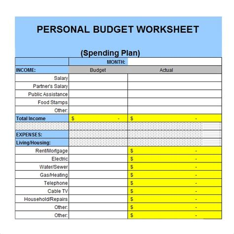 br b budget worksheet example single person 30 000 per year