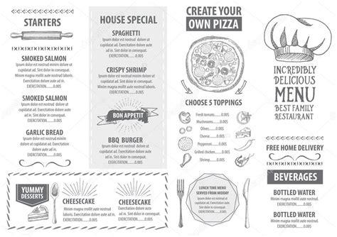 italian restaurant menu template design stock vector