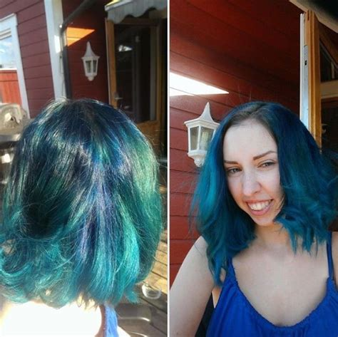My own blue mermaid hair crazy hair color blue hair colored short mid length hair pinterest